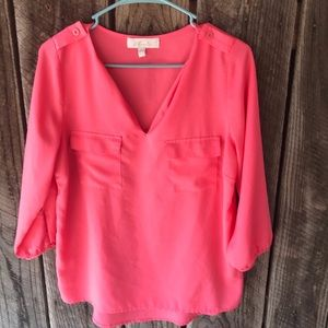 Monteau top size large pink thin